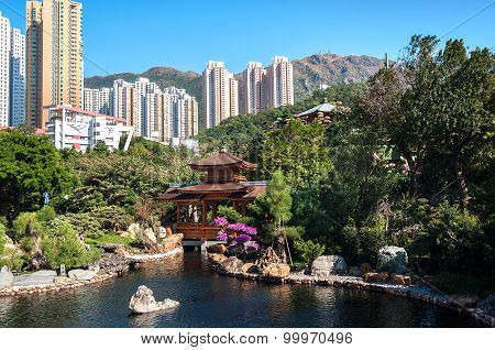 Nan Lian Garden, Diamond Hill, Hong Kong. Kowloon Peak Can Be Seen In The Background.
