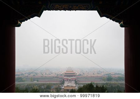 View Of The Forbidden City From Jingshan Park On A Polluted Day In Beijing, China