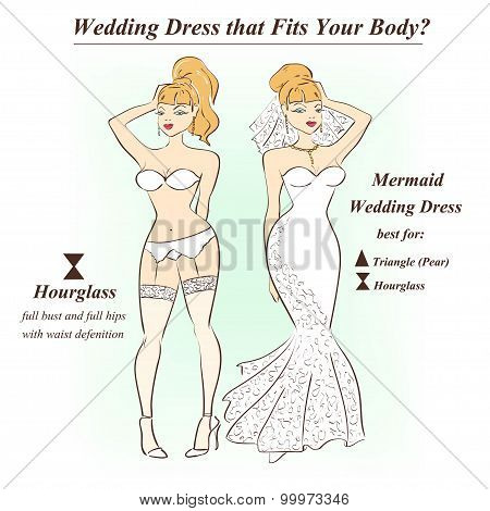 Woman In Underwear And Mermaid Wedding Dress.