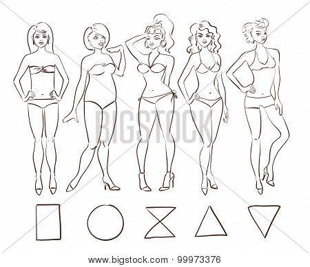 Sketch Set Of Isolated Female Body Shape Types.