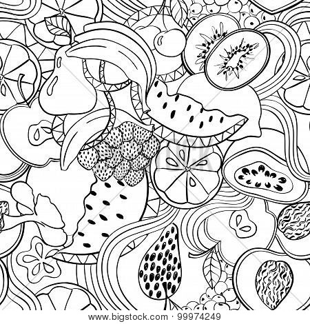 Psychedelic Black And White Fruit Seamless Pattern.