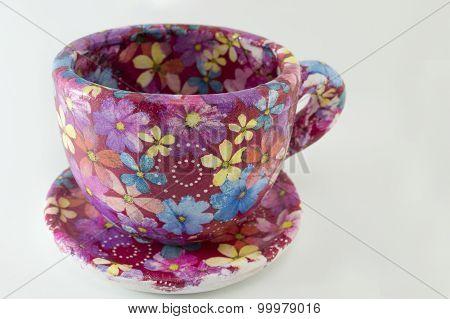 Decoupage Decorated Huge Coffee Mug. Flower Pattern Decoupage Decoration