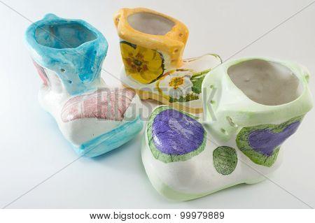 Decoupage Decorated Vintage Porcelain Figurines