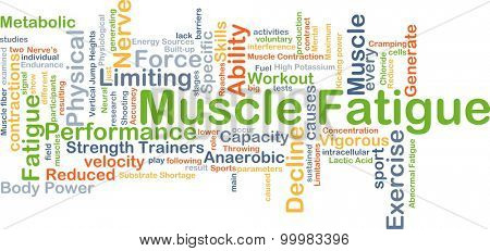 Background concept wordcloud illustration of muscle fatigue