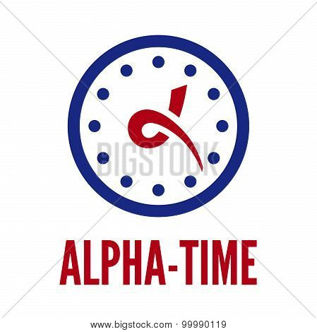Letter Alpha And Clock