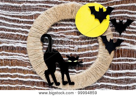 Your Idea For Halloween: A Black Cat And Bats