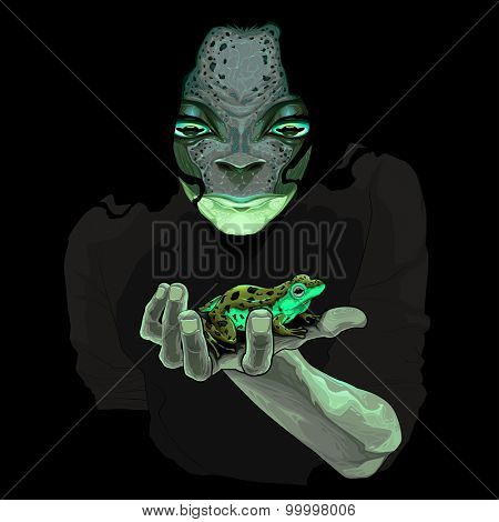 Metamorphosis, monster guy with a frog. Vector illustration