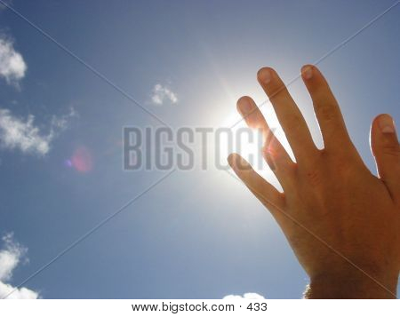 Hand Shading the sun... poster