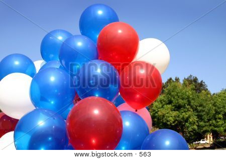 bunch of balloons on July 4th in the park blue sky poster