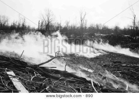 PA, Centralia, steam, coal, mines, black and white, smoke poster