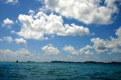 Tropical Waters wet blue teal azur caribbean gorgeous sky and clouds poster