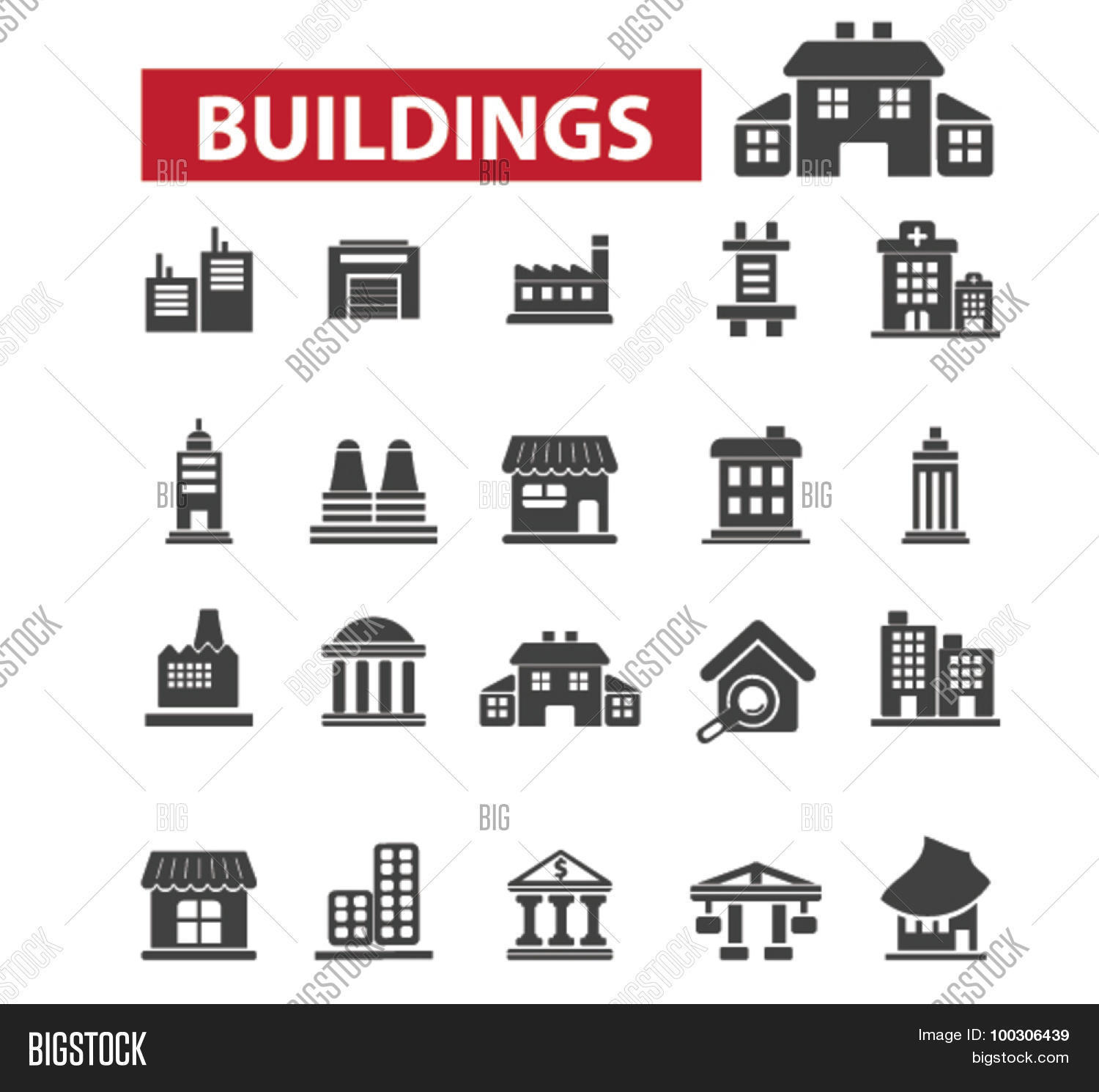 Buildings houses icons city building construction for Architecture icon