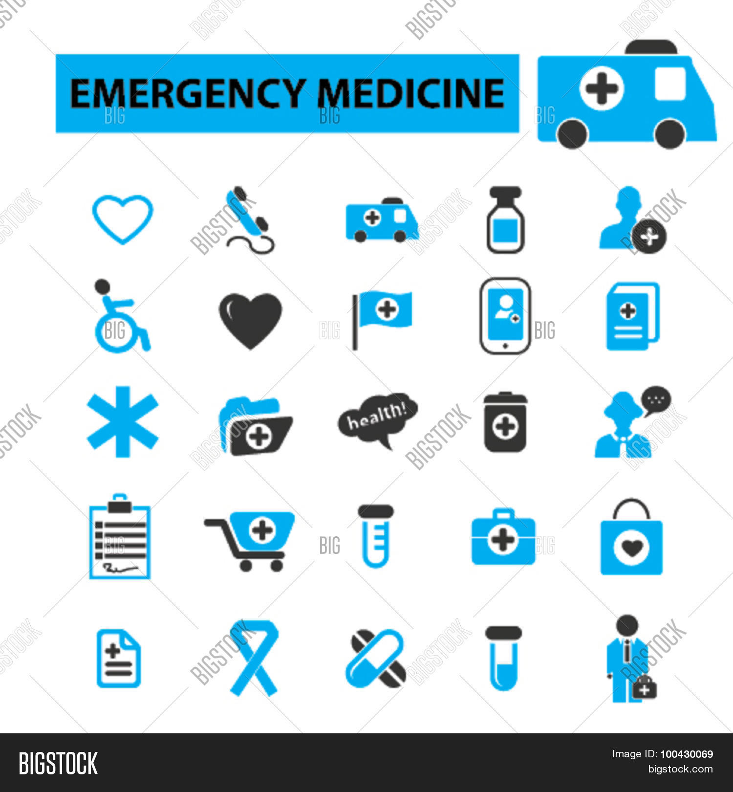 Emergency medicine icons concept. Medical icons, health ...