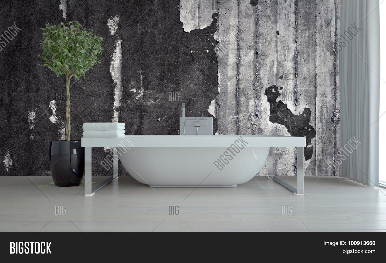 Modern Bathroom Interior With Freestanding Tub On A Chrome Frame - Freestanding tub against wall