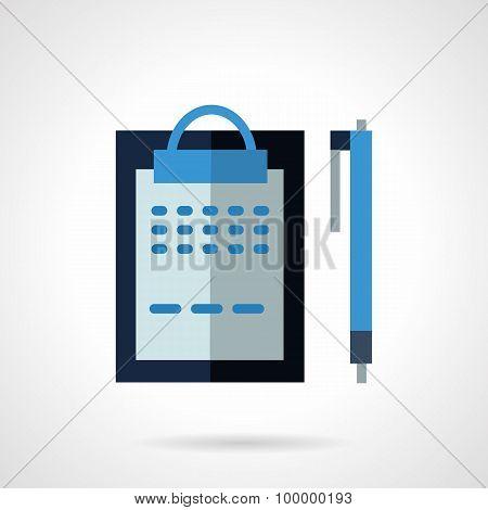 Blue clipboard flat color vector icon