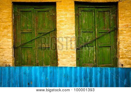 The old vintage close wooden windows