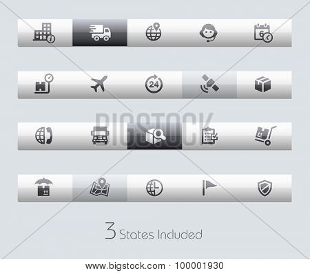 Shipping and Tracking // Classic Bars +++ The vector file includes 3 buttons states in different layers. +++