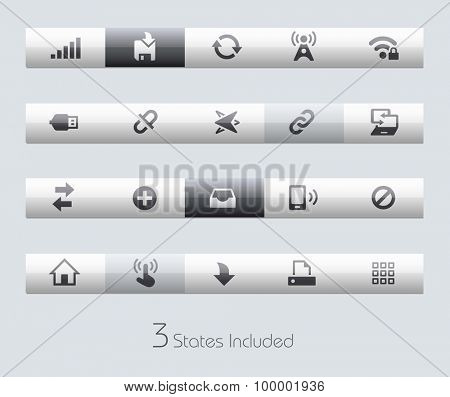 Web and Mobile 6 // Classic Bars +++ The vector file includes 3 buttons states in different layers. +++