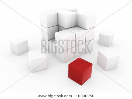 3d red business cube