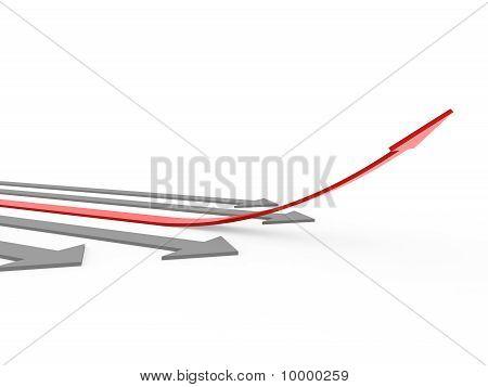 3D-rode grijze pijl hoge
