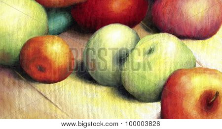 Sunlit ripe green and red apples.