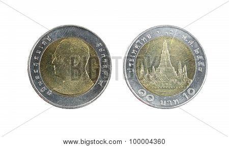 Ten Baht Thailand Coins.