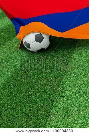 Soccer Ball And National Flag Of Armenia,  Green Grass