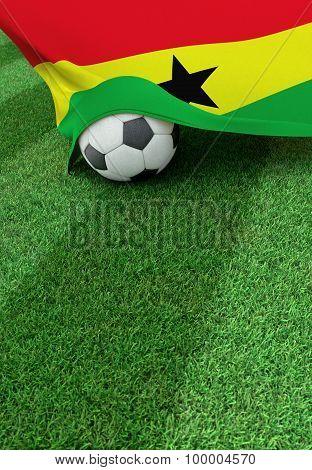 Soccer Ball And National Flag Of Ghana,  Green Grass