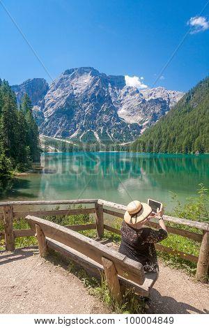 Tourist At Lake Braies