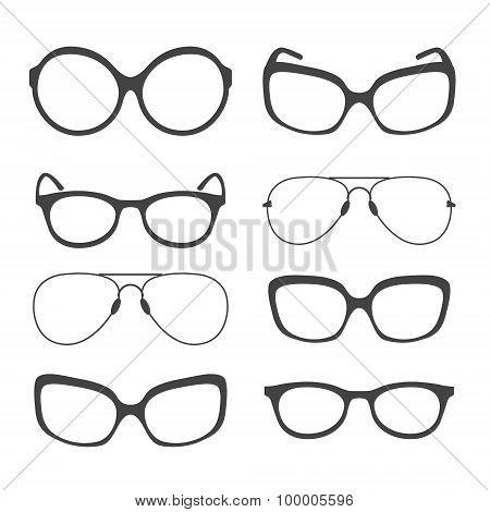 Eyeglasses Silhouette. Vector