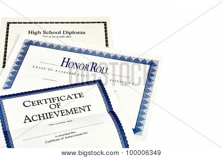 School Achievement Documents Including High School Diploma