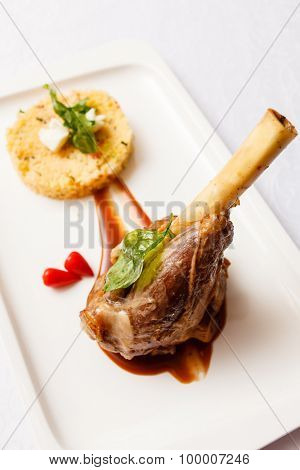 Veal chop with rice