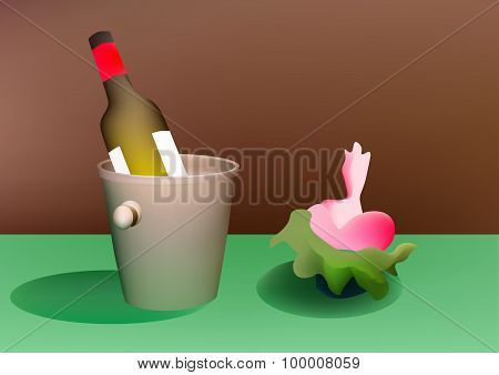Bottle Of Wine And Fower