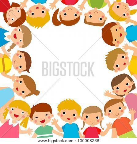 Cartoon children around the frame vector illustration