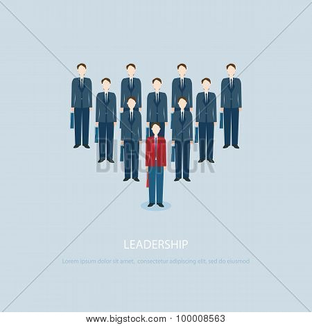 Leadership Businessman In Red Businessmen Lead Blue Colleagues.