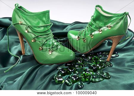 Green High Fashion Shoes.