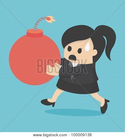 Businesswoman Holding A Large Bomb