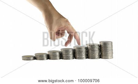 Stack Of Thailand Silver Coin And Hand Gestures Are Walking.