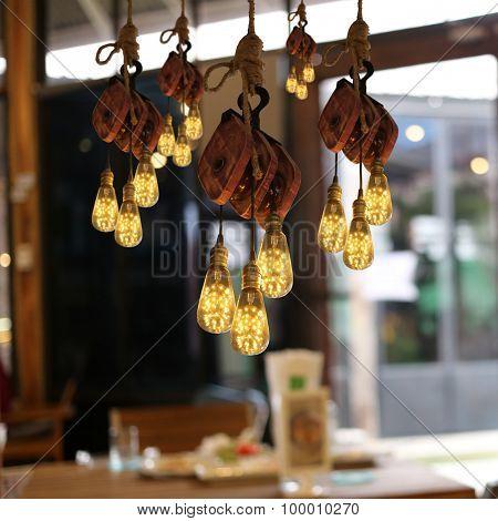 Modern Ceiling Lighting In A Restaurant.