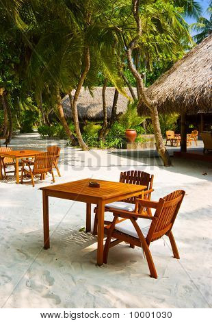 Cafe On The Beach Of Tropical Island