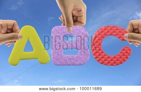 Hand Arrange Alphabet Abc Of Acronym English Alphabet.
