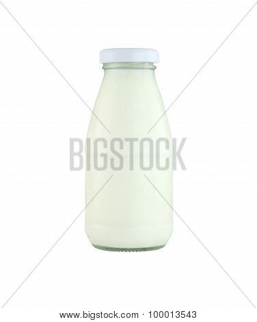 Milk Glass Bottle Isolated On White Background.
