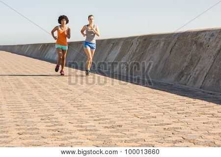 Two young women jogging together at promenade