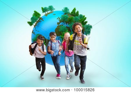Cute pupils running down the hall against blue vignette background