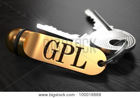 GPL - Bunch of Keys with Text on Golden Keychain.