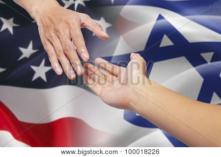 Helping Hands With Israel And American Flags