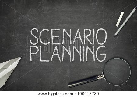 Scenario planning concept on blackboard
