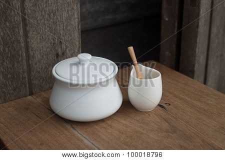 Cup on wood table