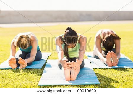 Sporty women stretching on exercise mat in parkland