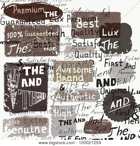 Set Of Vector Grunge Labels On A Hand Writhing Background In Vintage Style